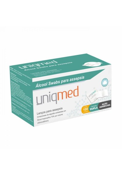 Álcool 70% Swabs uniqmed lenços para assepsia 100 unidades