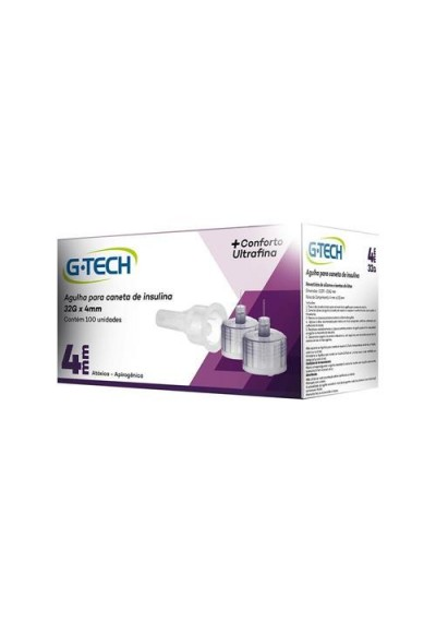 Agulha G-Tech Para Caneta de Insulina 32G x 4mm 100Un
