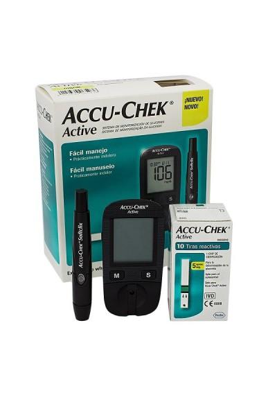 Accu-Chek Active kit aparelho c/ 10 fitas 10 lancetas e 01 lancetador