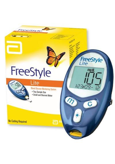 Kit FreeStyle freedom lite aparelho de medir glicose c 10 fitas lancetas e lancetador