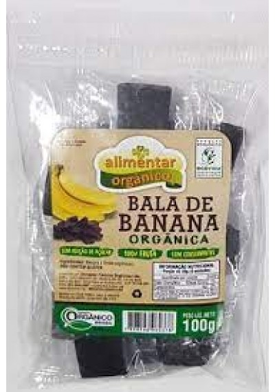 Bala de Banana Orgânica 100% da Fruta Alimentar 100g