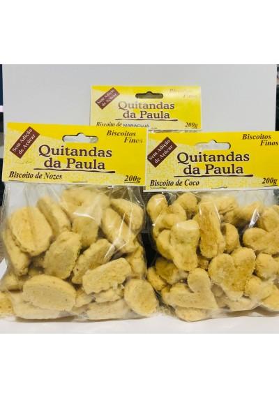 Biscoitos Finos  Amanteigados s/ Açúcar Quitandas da Paula (Coco, Limão, Castanha de Caju, Maracujá, Nozes)