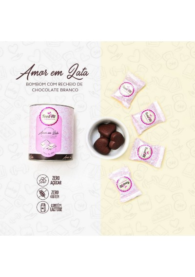 Amor em Lata Bombom com recheio de Chocolate Branco 200g