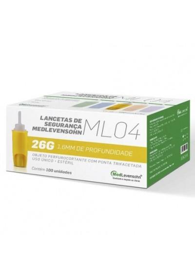 Lancetas de Segurança Medlevensohn ML04 26G 1,6mm c/ 100