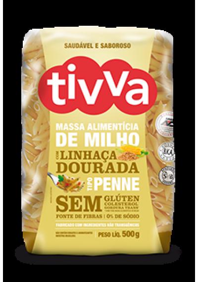 Massa Alimentícia de Milho Penne c/ Linhaça Dourada Tivva 500g. ( MACARRÃO)