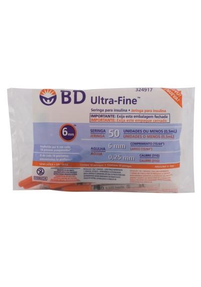Seringas BD Ultra-Fine Insulina 0,5ml  c/ 10 und