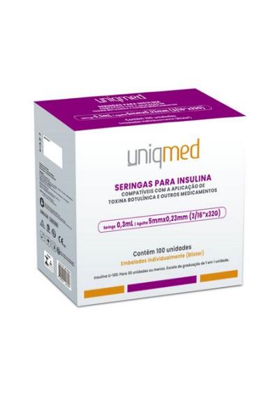 Seringas Para Insulina Uniqmed 0,3mL Agulha 5mm x 0,23mm (3/16''x32G)