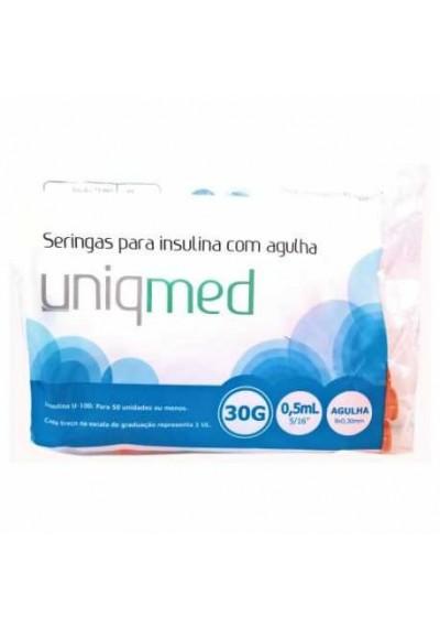 Seringas para insulina 0,5  agulhas 6 mm,  8 mm, 12,7 mm  Uniqmed c/10