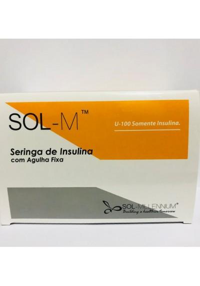 Seringas insulina  Sol-M  1ml (8m.m x 0.3m.m) 30G x 5/16 cx c 100