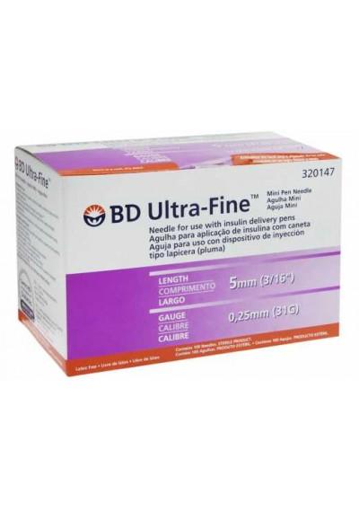 Agulha BD  Ultra-Fine 5 mm c/ 100 unidades para Caneta