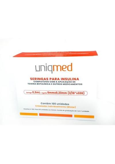 Seringas Para Insulina Uniqmed 0,5mL Agulha 5mmx0,23mm (3/16''x32G)